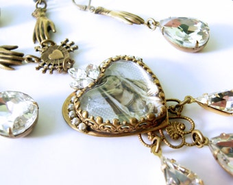 Sacred Heart Necklace - Mary Jewelry - French Market Jewelry - Necklace Set - Crystal and Brass - Seven sorrows - Heart Pendant - Pearls