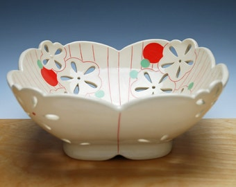 Large pierced fruit bowl in Ivory w. Red & green polka dot floral, Handmade Victorian modern