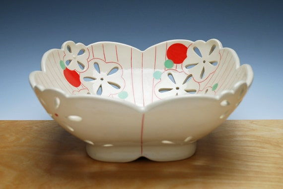 Large Pierced Fruit Bowl In Ivory W Red Green Polka Dot