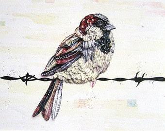 Sparrow, Bird Painting, 8x10, Xmas, Painting, Bird Art, Bird Print, Wall prints, Art Print, Wall Art, Bird, Art Prints, Bird Paintings,