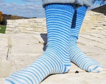 Blue Skies Ahead Gradient Stripes Matching Socks Set, 2-50g Cakes, Lavish (dyed to order)