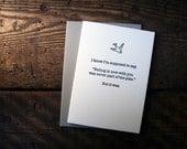 Letterpress (un)Valentine Card - Never Part of the Plan - single
