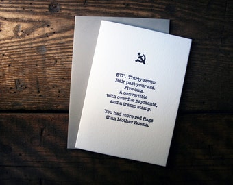 Letterpress (un)Valentine Card - Red Flags - single