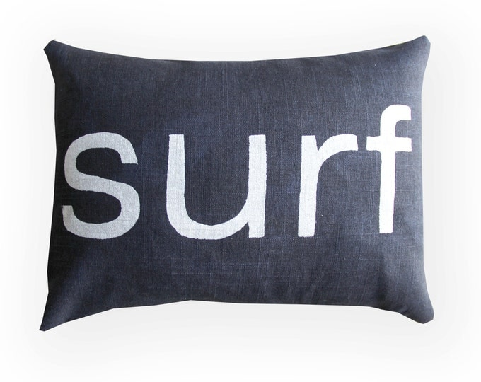 Navy Blue and White Surf Pillow