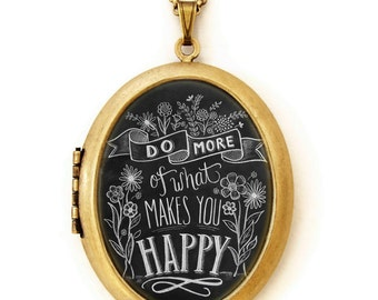 Chalkboard Art Locket Necklace - Do More Of What Makes You Happy