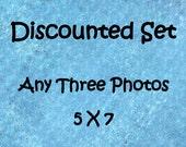Discounted photo set, Set of 3 prints, 5x7 photo set, 5x7 print set, 3 photo set, custom photo set, sale photo set, discounted art