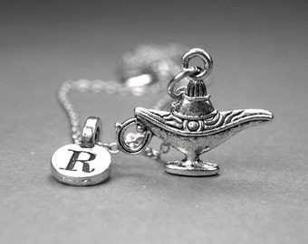 Genie Lamp Necklace, magic genie lamp charm, silver plated pewter, initial necklace, initial hand stamped, personalized, monogram letter