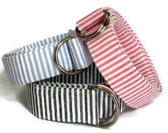 Mens Belt Seersucker Striped D-ring Belt Seersucker Ribbon Belt - Seersucker in red gray blue green