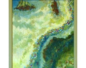 Original Painting Abstract Seascape Water Green Blue Aqua Yellow Warm Wood Frame