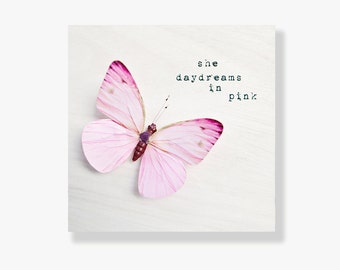 Butterfly photo canvas, girls wall art, typography art, nursery decor, pink butterfly, butterfly decor, whimsical - She Daydreams in Pink