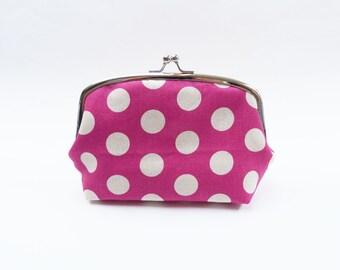 Magenta pink and cream polka dot fabric cosmetic bag