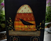 Halloween Candy Corn Crow Wood Shelf Sitter Block Decoration