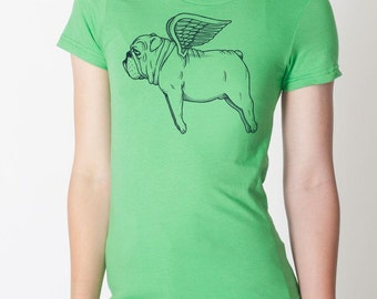 Flying Bulldog Womens T-Shirt Small, Medium, Large, XL in 7 Colors