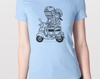 Scooter Calaveras Womens T-Shirt S, M, L, XL in 7 colors