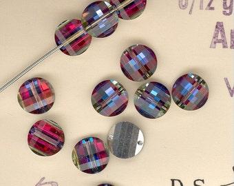 12-6mm Vintage Swarovski Volcano Article 5107 Pagoda Crystal Beads 6 Rights 6 Lefts No.712