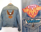Vintage 80s 90s Grease Moneky Levis Distressed Denim Jacket with Patches