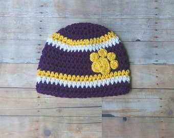 Lsu Football Hat with paw print ,purple and gold , crochet hat , newborn , baby,infant,toddler,child ,  adult , photo prop