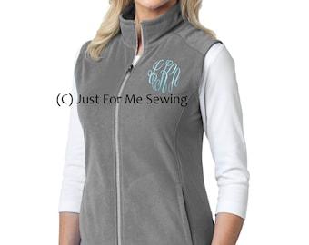 Monogrammed Vest - Lightweight Fleece, lightly fitted, pockets, full zip