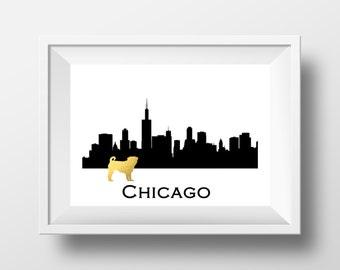 Chicago Skyline Wall Art chicago skyline   etsy