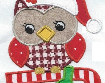 Cutest Christmas Owl applique  iron on embroidered patch