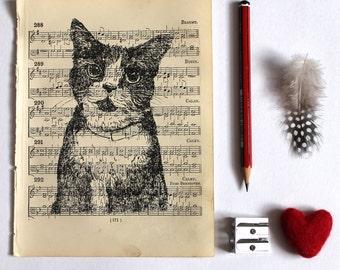 Cat Gocco Print on Vintage Sheet Music, Cat Print