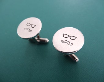 Glasses and Mustache Man Cufflinks  - Hand stamped Glasses and Mustache Cufflinks