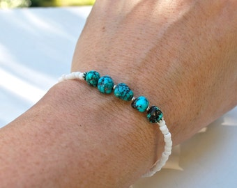SALE, Natural Turquoise Nugget Bracelet, Stacking Bracelet, Everyday Jewelry