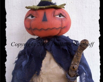 The Mrs, A Primitive, Folk Art, Pumpkin, Doll, Halloween, Pattern By Whimsical Endeavors