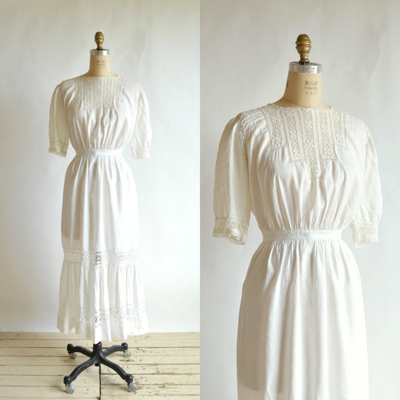 Edwardian Wedding Dress Vintage 1900s White Cotton Dress