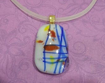 Small Necklace, Colorful Necklace, White Blue Jewelry, CIJ - New Sensations - 826 -3