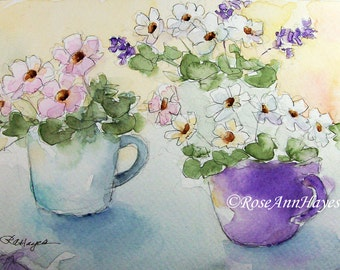 Watercolor Painting of Flowers in Teacups Print Floral Bouquet Wildflowers Garden