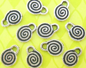 5 Spiral Charms, Silver Plated, Spiral Drops, Spiral Beads, 11mm x 15mm, Round Charms, Jewelry Charms, Silver Charms, DIY Jewelry- TS501R