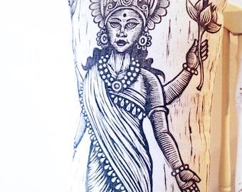 Lakshmi Woodcut Art Pillow, Hindu Goddess Lakshmi Decorative Novelty Pillow, Hindu Goddess Hand Printed Pillow, Eastern Indian Home Decor