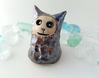 Rainbow Monster Ceramic Sculpture, Handmade Clay Imp