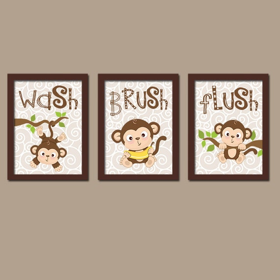 MONKEY Bathroom Wall Art CANVAS Or Prints Boy Girl Bathroom Brother