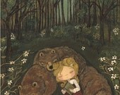 Nursery Art Bear Print Fairy Tale Forest Girl Children Wall Art---Three Bears 11 x 14