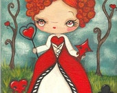 Queen of Hearts Original Painting Cute Alice in Wonderland Card Characters Fairy Tale Wall Art 6 x 8 The Red Queen