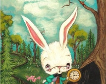 The White Rabbit Print Cute Pencil Bird Fairy Tale Wall Art --- Rabbit Hole LARGE PRINT 11 x 14