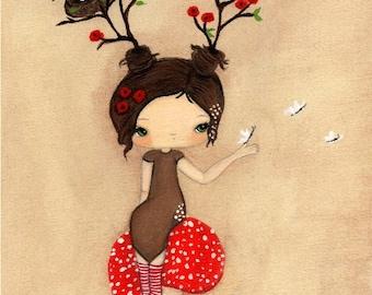 Poppy Print Whimsical Tree Girl Mushroom Wall Art---Poppy Girl Tree