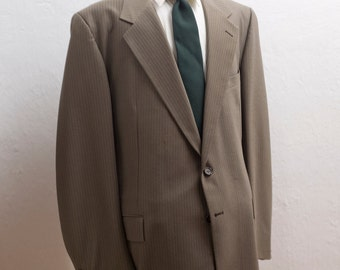 Men's Blazer / Vintage Brown Pinstripe Jacket / Size 48 xxl Long