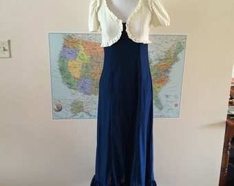 1970s Maxi Dress Blue and Cream Shimmer fabric Empire style Sz S