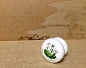 Flower Ceramic Knobs, Porcelain Knobs, Drawer Pulls, Bathroom Knobs, Cabinet Hardware, Dresser Knobs, Furniture Knobs , Drawer Handles