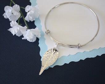 Silver Leaf Bangle Evergreen, Real Leaf Bracelet, Silver Evergreen, Sterling Silver, Leaf Bangle, Bracelet, Bridesmaid Gift, Gift, Aspen