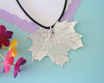 Real Sugar Maple Leaf, Real Silver Leaf, Maple Leaf Necklace, Canadian Leaf, Sterling Silver, LL133