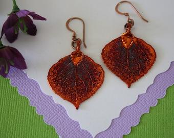 Copper Aspen Leaf Earrings Small, Aspen Leaf, Small Size Earrings, Copper Earrings, Real Leaf Earrings, Bridesmaid Gift, Nature, LESM50
