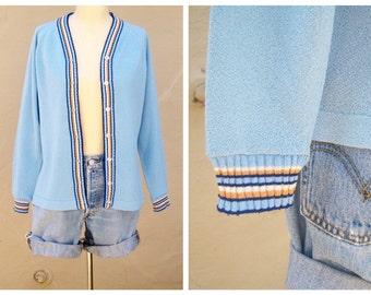 60s cardigan / light blue nautical cardigan / striped preppy summer sweater / mens 38, womens sm-med