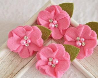 New! 4pcs Handmade soft felt flowers--carnation (FT1031)