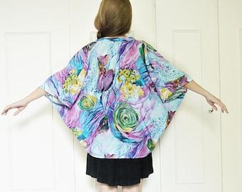 Floral kimono, Boho kimono jacket, Beach cover up, short kimono, watercolour print, Hippie boho kimono, Festival kimono, Summer jacket