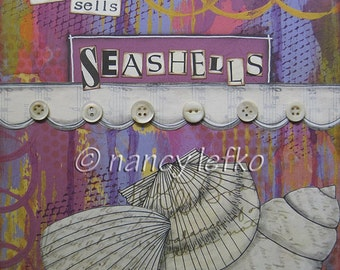 she sells seashells - 8 x 8 Original Collage on Canvas by Nancy Lefko