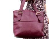 Purple Leather Handbag Tote